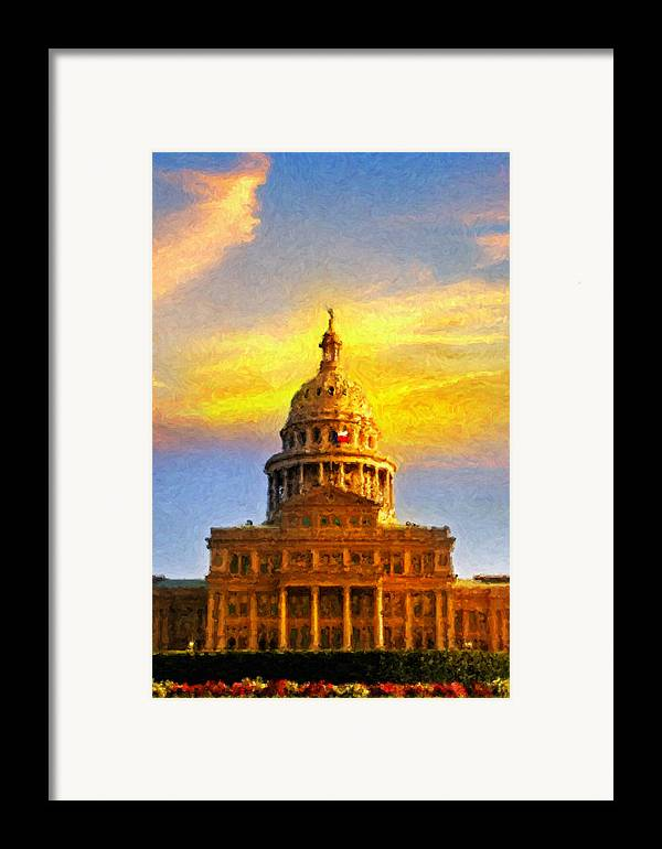 Dallas Framed Print featuring the painting Texas Capitol At Sunset Austin by Jeff Steed
