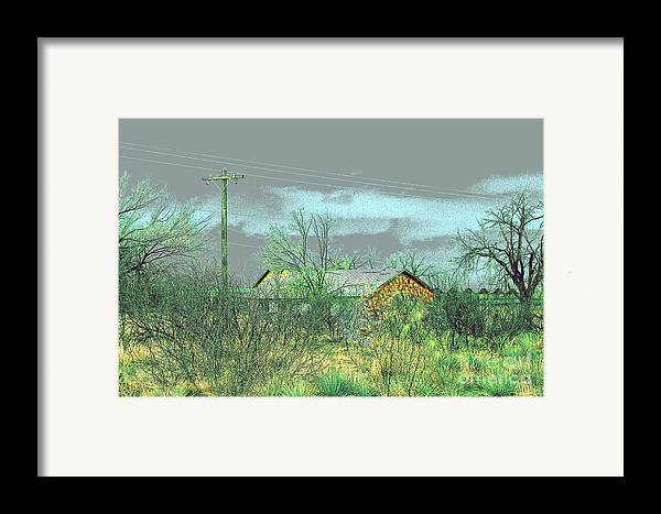 Landscape Framed Print featuring the photograph Texas Farm House - Digital Painting by Merton Allen