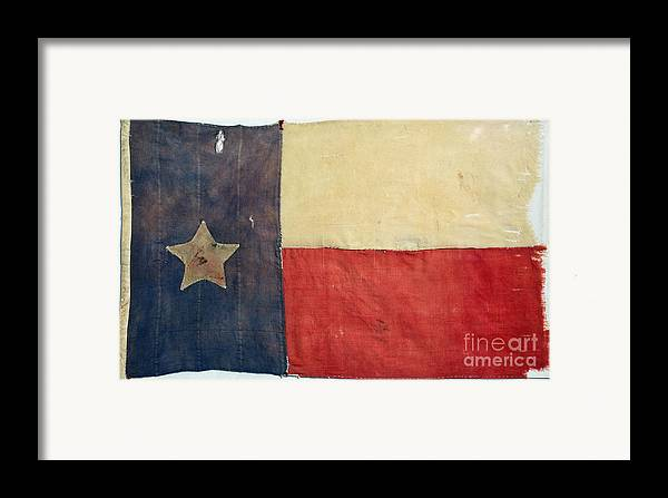 1842 Framed Print featuring the photograph Texas Flag, 1842 by Granger