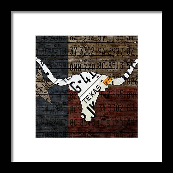Art Framed Print featuring the photograph #texas #longhorn #recycled #vintage by Design Turnpike