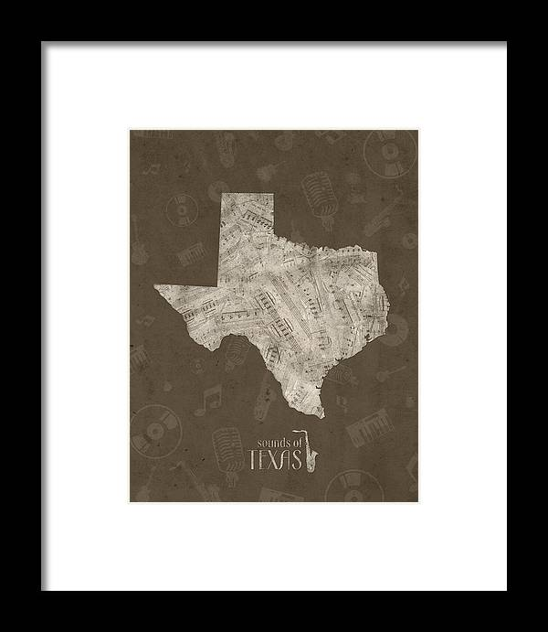 Texas Framed Print featuring the digital art Texas Map Music Notes 3 by Bekim M