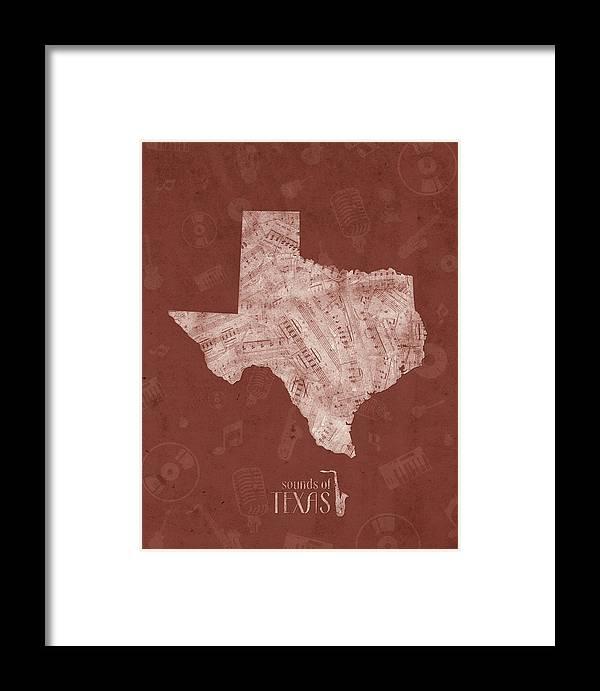 Texas Framed Print featuring the digital art Texas Map Music Notes 4 by Bekim M