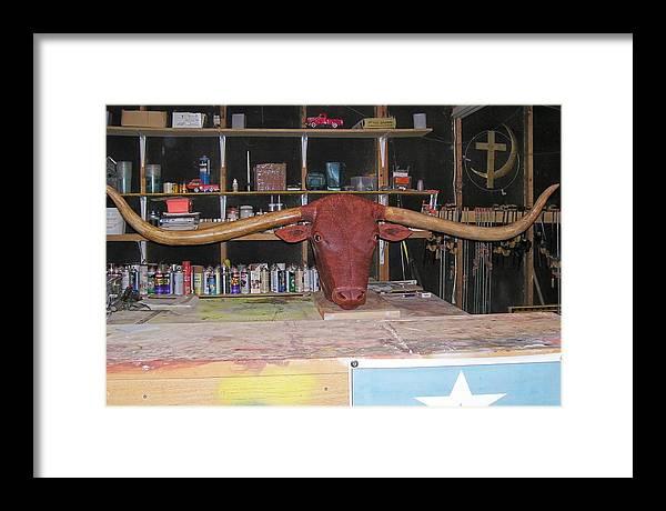Longhorn Framed Print featuring the sculpture Texas Monster Longhorn by Michael Pasko