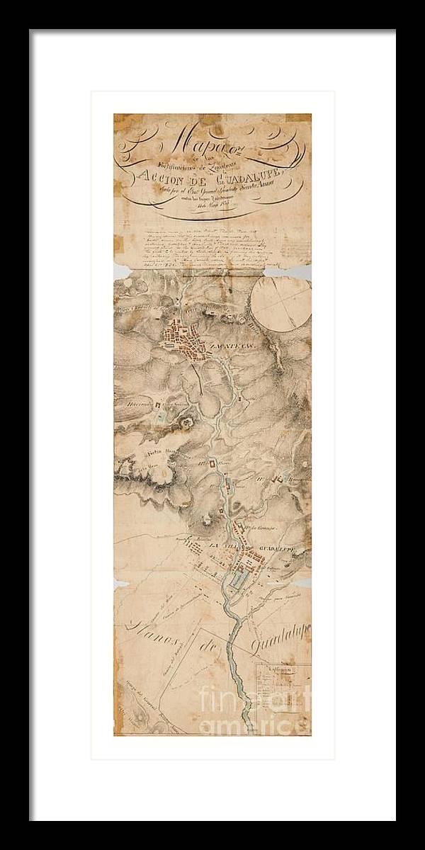 Map Of Texas 1835.Texas Revolution Santa Anna 1835 Map For The Battle Of San Jacinto With Border Framed Print