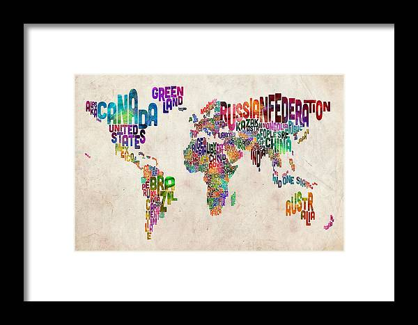 Map Of The World Framed Print featuring the digital art Text Map Of The World by Michael Tompsett
