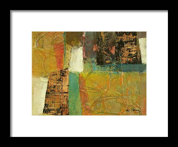 Collage Framed Print featuring the painting Textural Notions by Melody Cleary