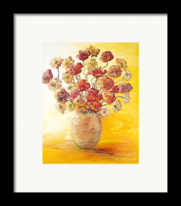 Flowers Framed Print featuring the painting Textured Flowers In A Vase by Nadine Rippelmeyer