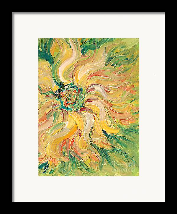 Texture Framed Print featuring the painting Textured Green Sunflower by Nadine Rippelmeyer
