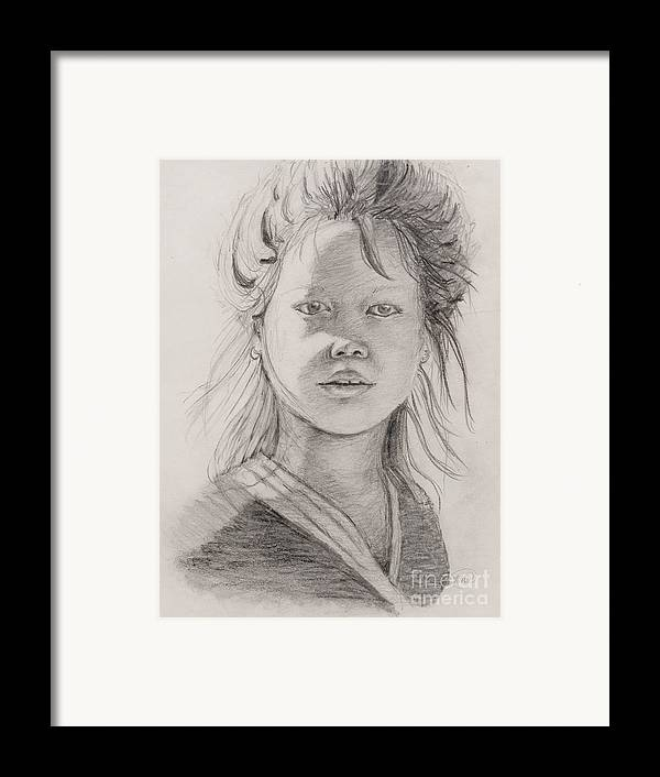 Portrait Framed Print featuring the drawing Thai Beauty by Nadine Rippelmeyer