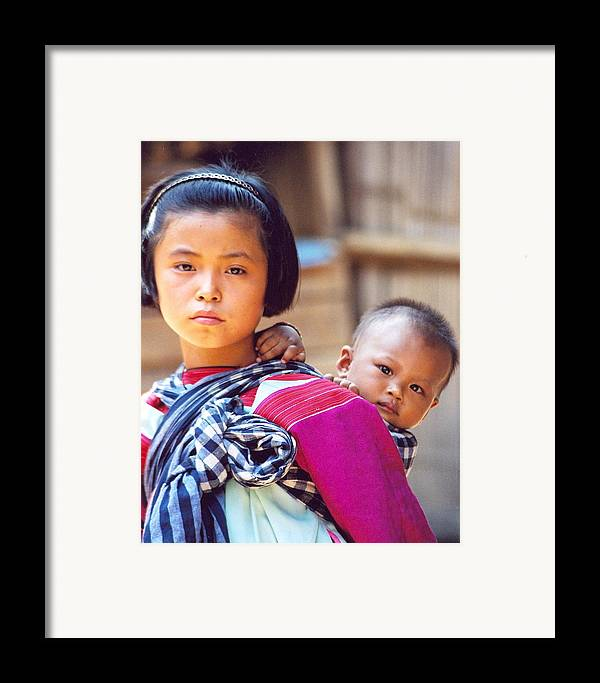 Thailand Children Framed Print featuring the photograph Thai Children by Linda Russell