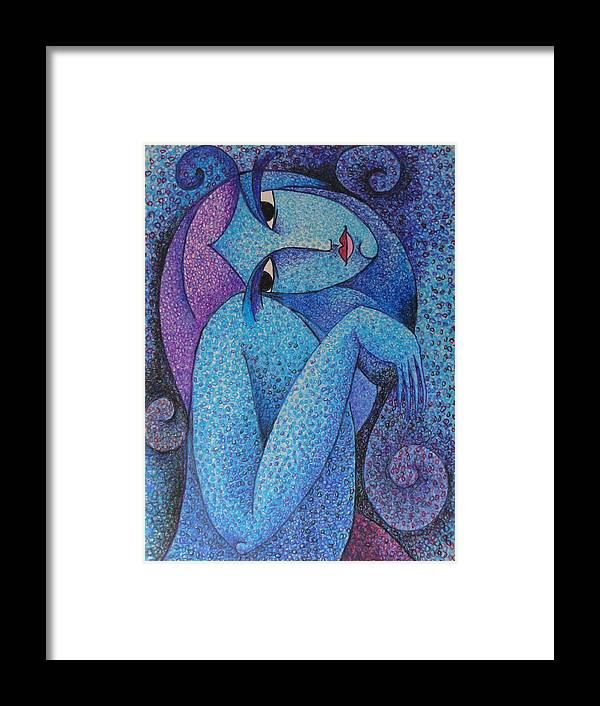 Circulism Technique Framed Print featuring the pastel Thai Lady 2015 by S A C H A - Circulism Technique