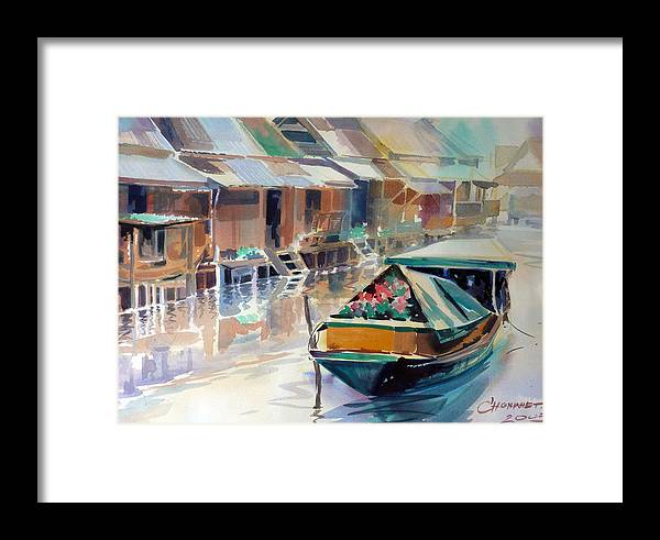Water Color Framed Print featuring the painting Thai Style by Chonkhet Phanwichien