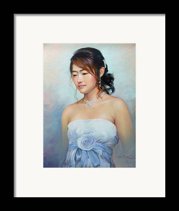 Thai Framed Print featuring the painting Thai Woman by Chonkhet Phanwichien