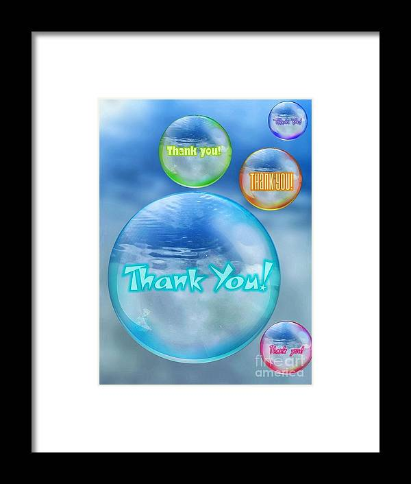 Greeting Framed Print featuring the digital art Thank You Bubbles by Rachel Hannah