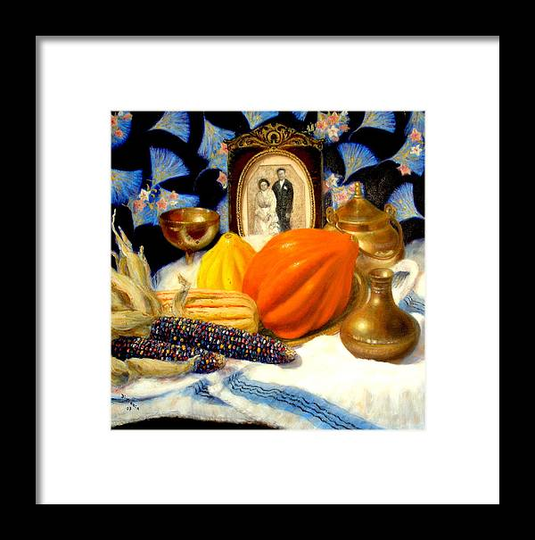 Realism Framed Print featuring the painting Thanksgiving Of The Past by Donelli DiMaria