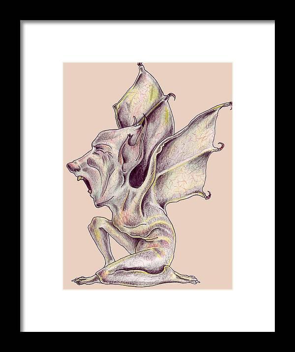 Bat Rat Man Drawings Color Pencil Framed Print featuring the drawing That Bat Man Rat by Veronica Jackson