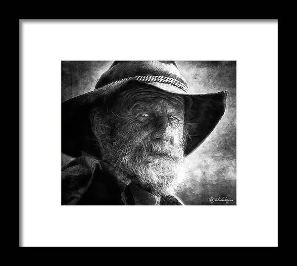 Male Framed Print featuring the digital art That Ol' Devil Ain't Caught Me Yet. by Rick Wiles
