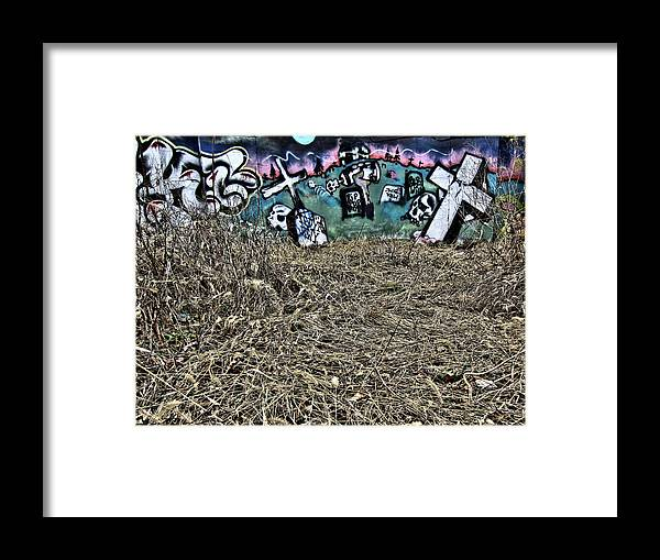 Graffiti Framed Print featuring the photograph That Old Rugged Cross, 2013 by Wayne Higgs