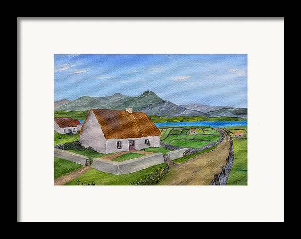Irish Scene Framed Print featuring the painting Thatched House 2 by Cary Singewald