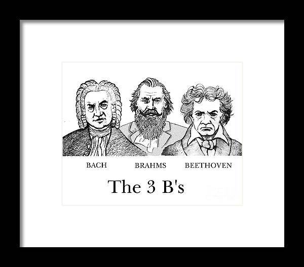 Bach Framed Print featuring the digital art The 3 B's by Paul Helm