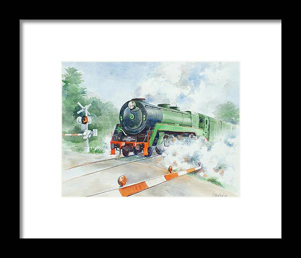 Watercolor Framed Print featuring the painting The 3830 At Robertson by Ekaterina Mortensen