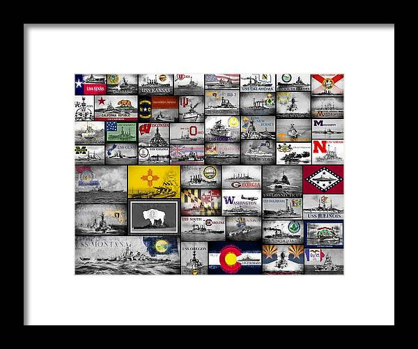 Battleship Framed Print featuring the digital art The 50 States And Their Battleships by JC Findley