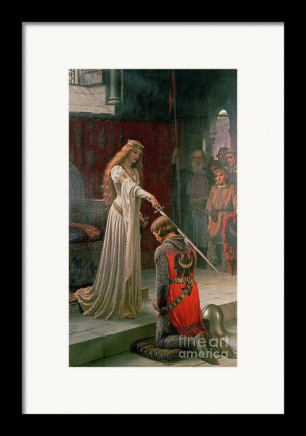The Framed Print featuring the painting The Accolade by Edmund Blair Leighton