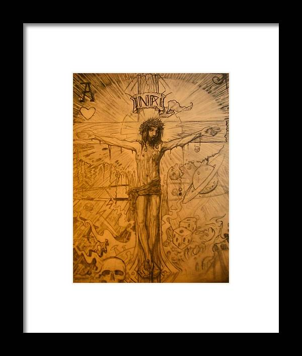 Jesus Framed Print featuring the drawing The Ace Of Hearts by Will Le Beouf