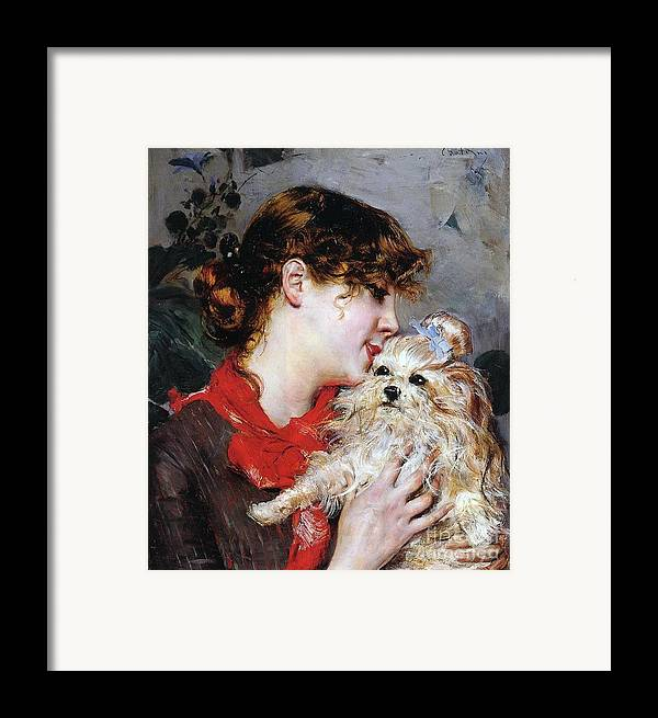 The Actress Rejane And Her Dog Framed Print featuring the painting The Actress Rejane And Her Dog by Giovanni Boldini