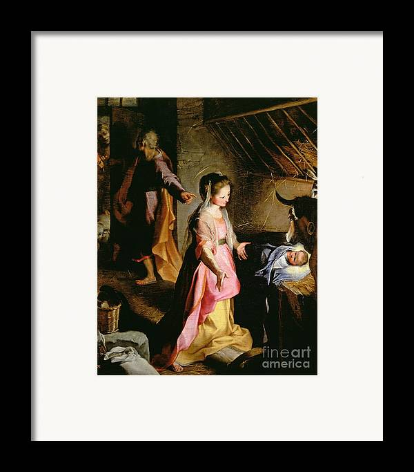 Nativity Framed Print featuring the painting The Adoration Of The Child by Federico Fiori Barocci or Baroccio