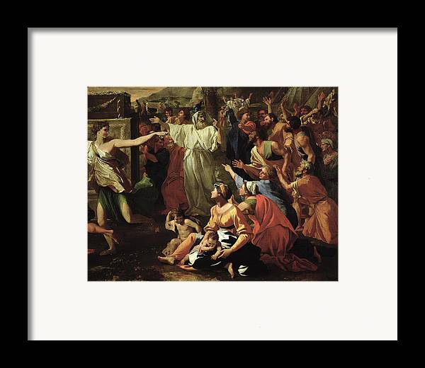 The Framed Print featuring the painting The Adoration Of The Golden Calf by Nicolas Poussin
