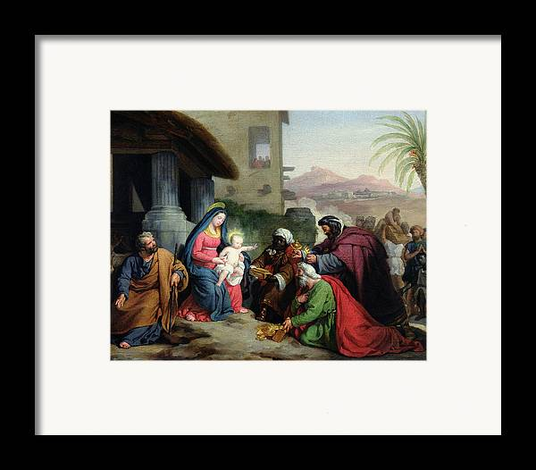 The Framed Print featuring the painting The Adoration Of The Magi by Jean Pierre Granger