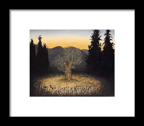 Landscape Framed Print featuring the painting The Adoration Of The Olive Tree by Barbara Gerodimou