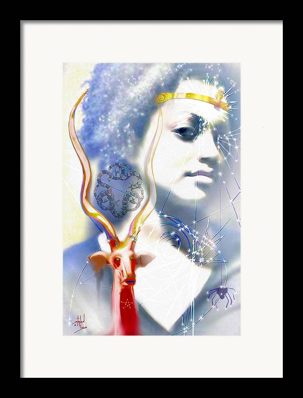 Spiritual Framed Print featuring the digital art The African Witchweaver by Stephen Lucas
