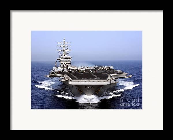 Flight Deck Framed Print featuring the photograph The Aircraft Carrier Uss Dwight D by Stocktrek Images