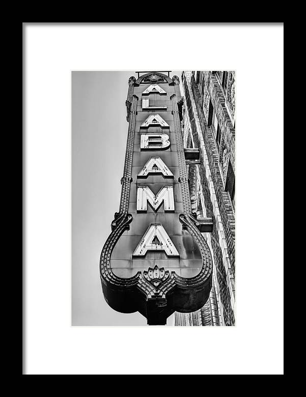 The Alabama Theater Framed Print featuring the photograph The Alabama Theater in Black and White by JC Findley