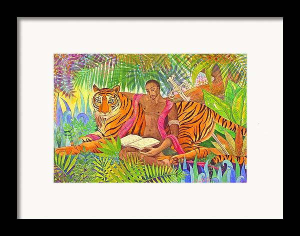 Tiger Warrior Jungle Tropical Sacred Wild Colourful Framed Print featuring the painting The Alchemists by Jennifer Baird