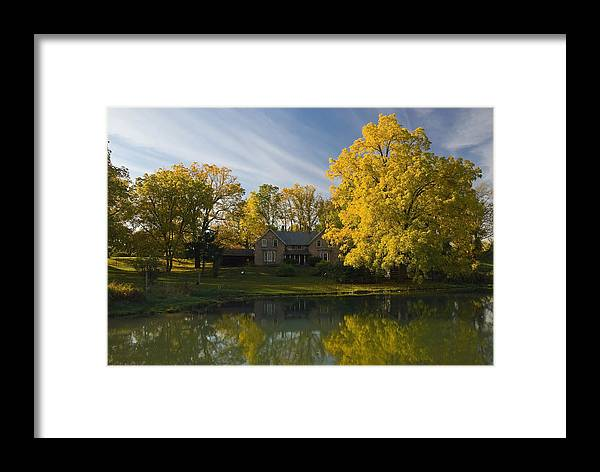 Agriculture Framed Print featuring the photograph The Alexander Farm And Pond by Mark Emmerson