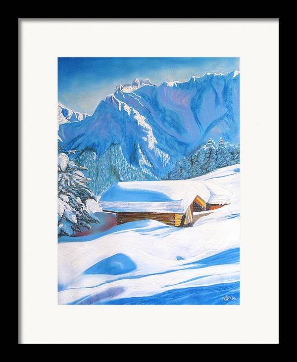 Snow Framed Print featuring the pastel The Alpine Hut by Aymeric NOA