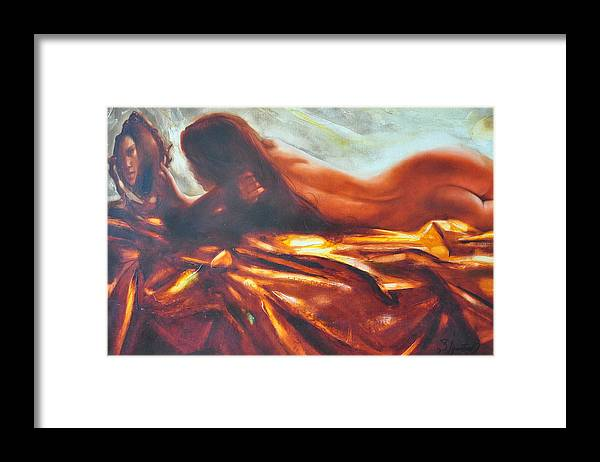 Painting Framed Print featuring the painting The amber speck of light by Sergey Ignatenko