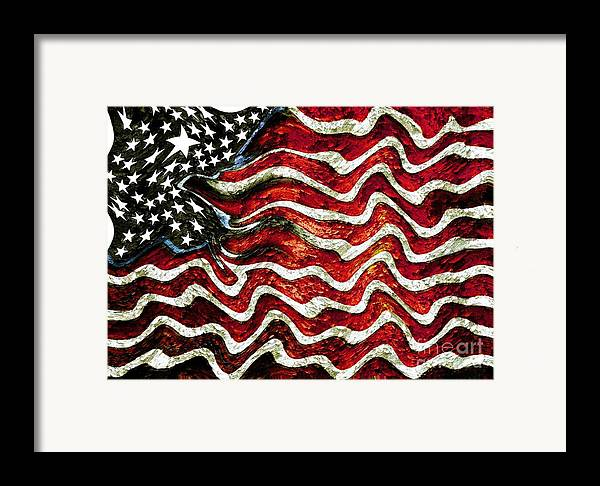 Patriot Framed Print featuring the mixed media The American Flag by Mimo Krouzian