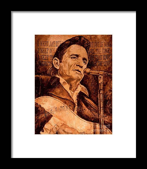 Johnny Cash Framed Print featuring the painting The American Legend by Igor Postash