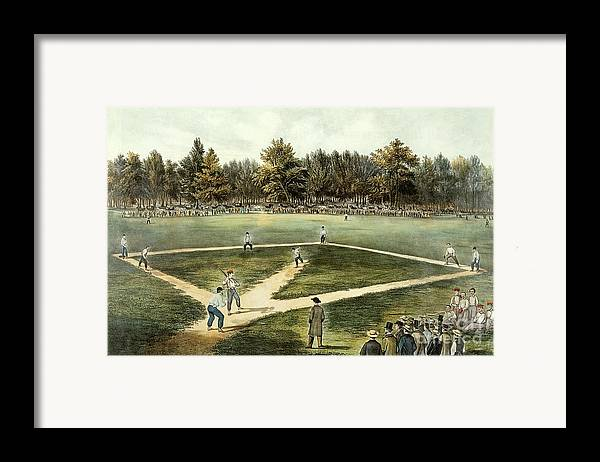 The Framed Print featuring the painting The American National Game Of Baseball Grand Match At Elysian Fields by Currier and Ives