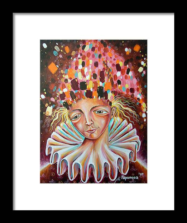 Jester Framed Print featuring the painting The Analyst by Liliya Garipova