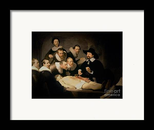 The Framed Print featuring the painting The Anatomy Lesson Of Doctor Nicolaes Tulp by Rembrandt Harmenszoon van Rijn