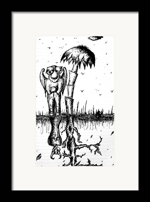 Angel Framed Print featuring the drawing The Angel Is The Devil by Jera Sky