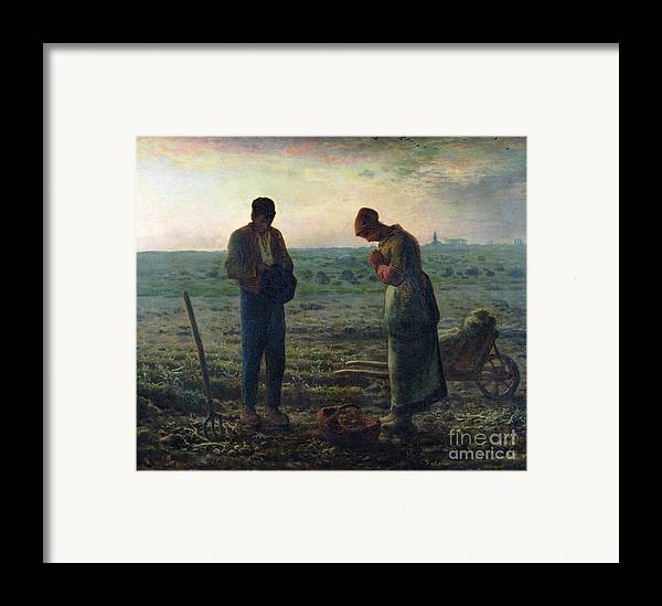 The Framed Print featuring the painting The Angelus by Jean-Francois Millet
