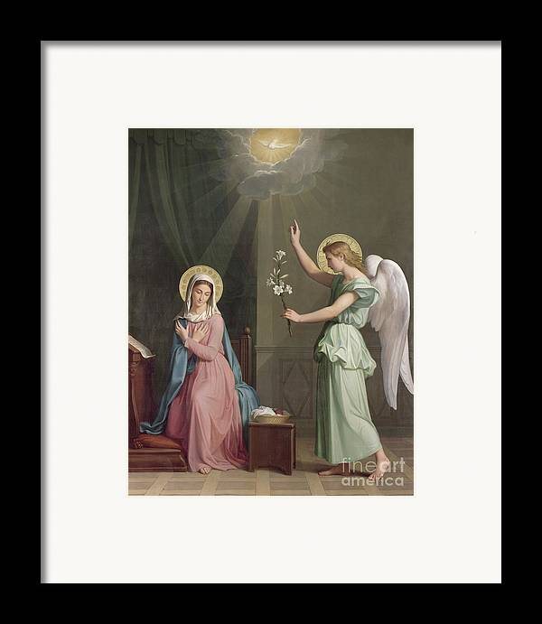 The Framed Print featuring the painting The Annunciation by Auguste Pichon