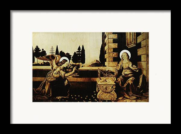 Dino Muradian Framed Print featuring the pyrography The Annunciation by Dino Muradian
