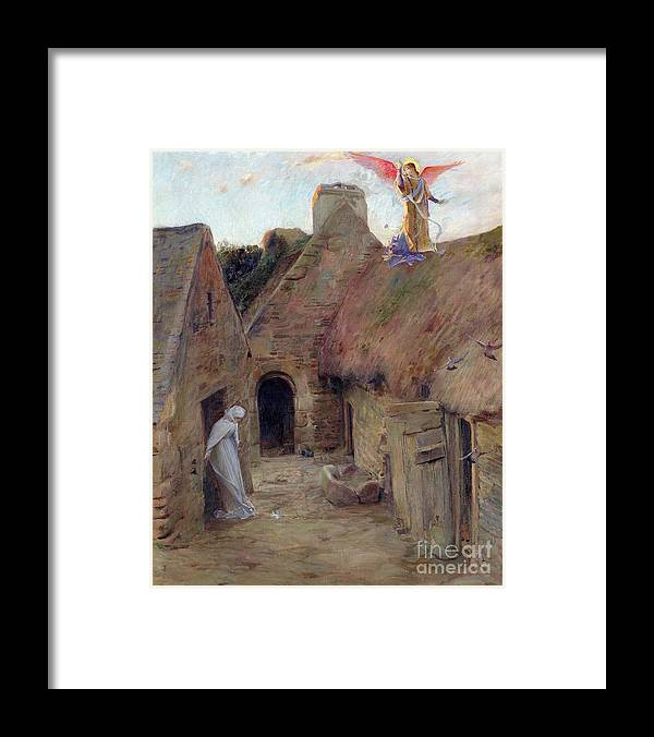 The Annunciation Framed Print featuring the painting The Annunciation by Luc Oliver Merson